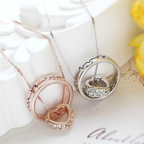 18K Rose GOLD Filled Solid Beating Heart Pendant Necklace With Swarovski Crystal