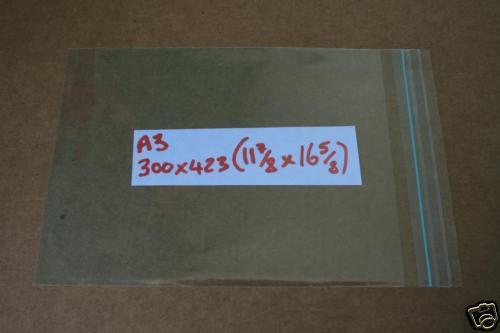 50 A3 11 7//8 x 16 5//8 CELLOPHANE BAGS self-seal PRINTS PACKAGING P/&P INC UK