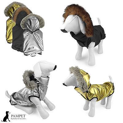 Dog Coat - PAMPET PUFFA JACKET Rain Coat With Faux Fur Hood - FREE UK P&P!