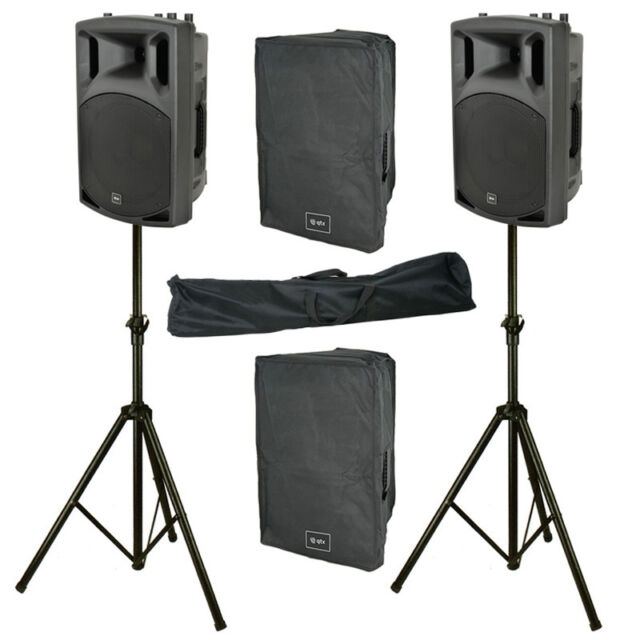 """2x QTX QX12A 12"""" 800W Active Powered DJ Band PA Speaker + Mixer + Stand + Cover"""