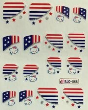 Nail Art Glitter Water Decals 4th of July Tips Stars and Stripes BJC066