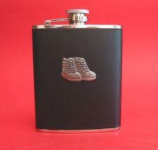 Walking Boots Design Black Leather 6oz Hip Flask Hiking Rambling Walking Gift