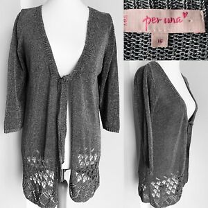 Per-Una-M-amp-S-Silver-Cardigan-Sparkly-Crochet-Throw-On-Tie-Disco-Party-Size-16