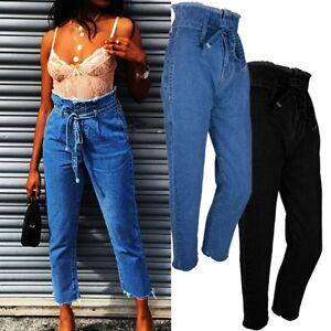 Women-High-Waist-Slim-Denim-Skinny-Jeans-Pants-Long-Baggy-Loose-Trousers-Blue