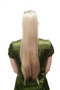 Postiche-Tresse-Queue-de-Cheval-Peigne-Enfichable-amp-Bande-Long-Lisse-Blond-65cm