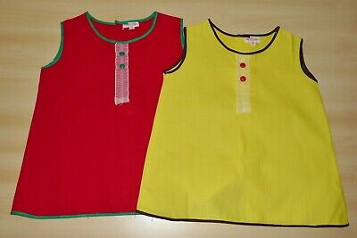 Brillante 2 Pack Di Vintage Anni 1970 Mai Indossato Ragazze Rosso & Giallo A-line Abiti Età 12 Mesi-mostra Il Titolo Originale Prezzo Moderato