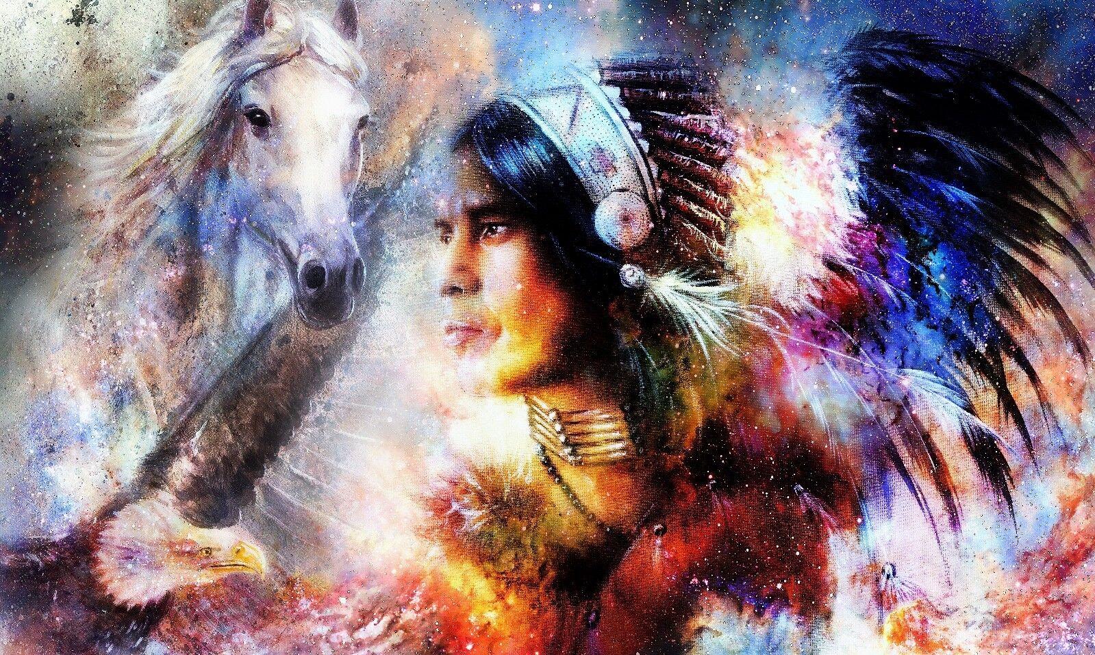 Horse, indian,abstract, american, Kunstwork quality Canvas Drucken choose your Größe