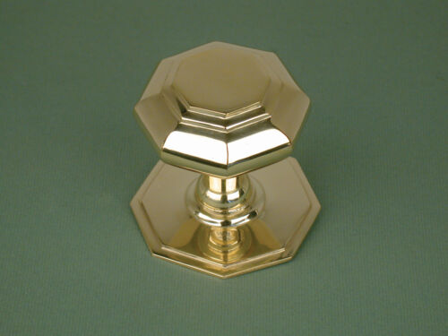 Handle Warwick Rec Small Antique Georgian Solid Brass Octagonal Door Pull Knob