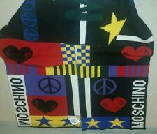 Love Moschino Wool Scarf Milano Couture Jeremy Scott Peace Heart Star Patchwork