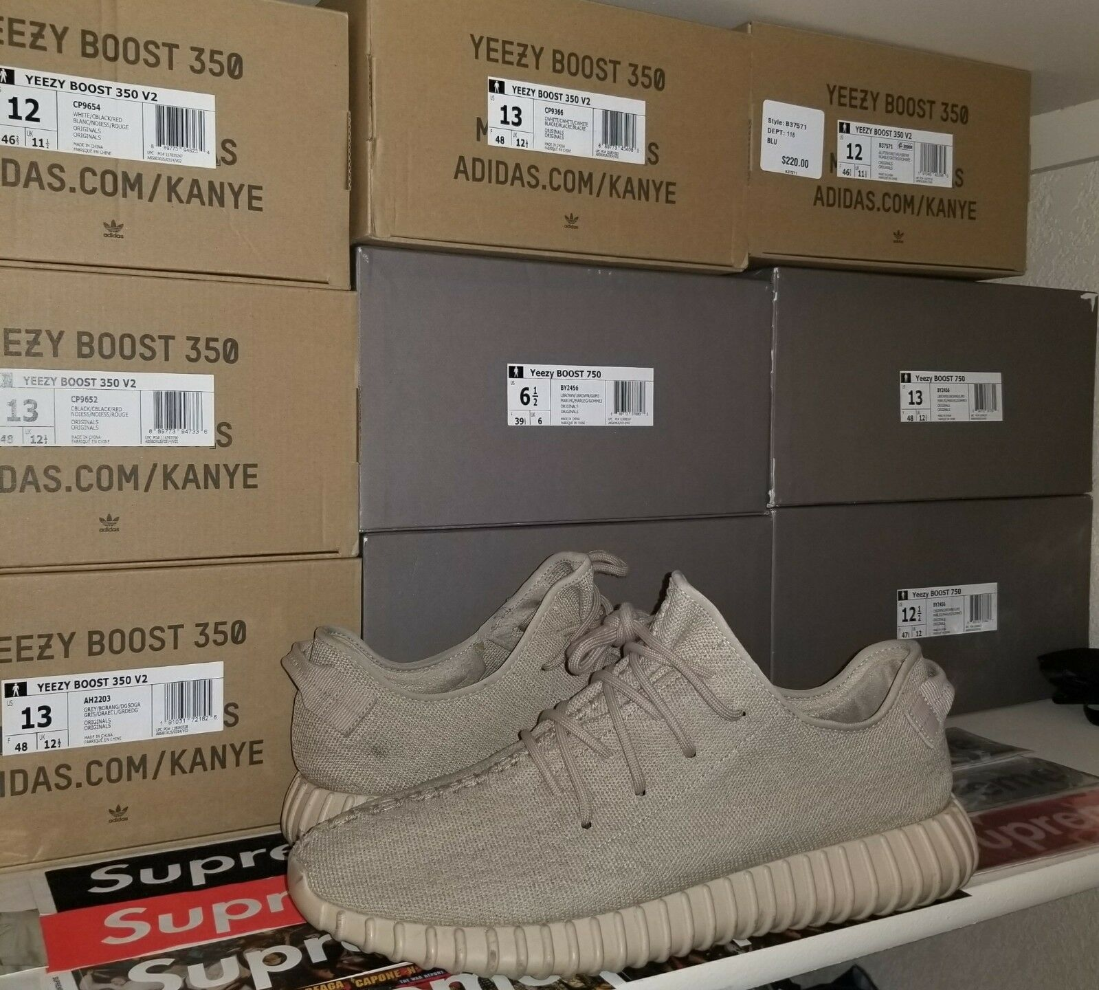 Adidas Yeezy 350 Boost Oxford Tan Tan Tan Dimensione 13 100% Authentic 077351