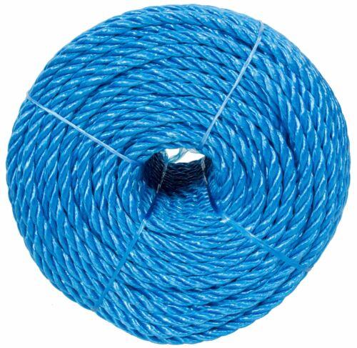 Blue Polypropylene Poly Tarpaulin Marine Camping Rope 100mtr Coil 6-16mm