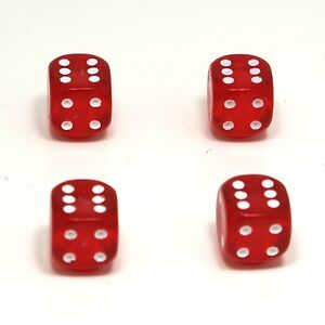 Set-of-Four-Red-with-Red-Inserts-Dice-Dust-Caps-X4-80-039-s-Retro-Valve-Caps