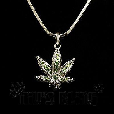 14k White Gold Green Stone WEED MINI Marijuana Pendant Snake Necklace Iced Out