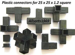 Plastic-connectors-square-tube-connectors-qube-block-end-caps-suits-25-4-x-1-2mm
