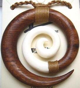 Genuine Composite Hawaiian Koa Wood Buffalo Bone Maori Koru Friendship Necklace