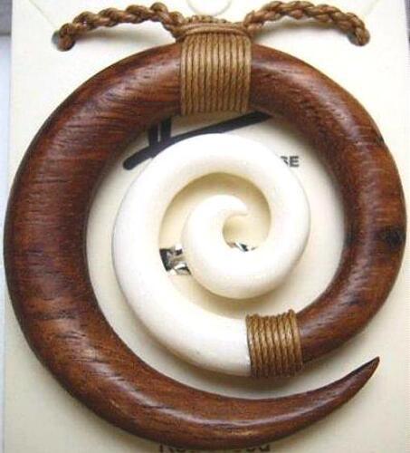 Composite Hawaiian Koa Wood Water Buffalo Bone Maori Koru Friendship Necklace