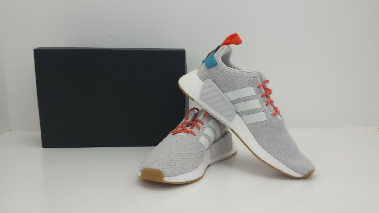 sports shoes 5c642 93cd6 adidas NMD R2 Summer Mens CQ3080 Grey White Orange Boost Running Shoes Size  9