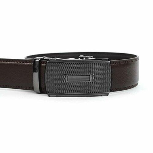 Men/'s Dress Belt Genuine Leather Exact Fit Automatic Buckle Ratchet Belt