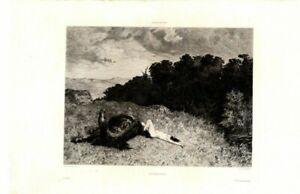 BRUNEHAULD Brunhilde & Horse Luminais  / Etching Antique Art Print [Inv#HB122