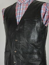 Vtg Leather Masters Mens Black Leather Padded Waistcoat Vest Size UK 40 EUR 50