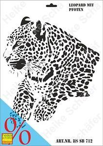 Schablone-Stencil-A3-143-0712-Leopard-mit-Pfoten-Neu-Heike-Schaefer-Design