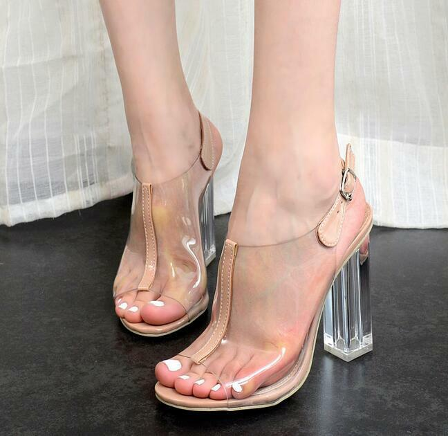 Womens Open Toe Clear Slingback Buckle Block High Heels Sandals shoes Sexy New S