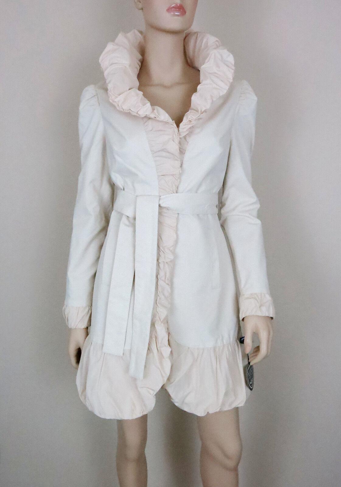 white black Coat Ruffle Bubble Trim Long Sleeve Tie Belt Cotton Blend Ivory M