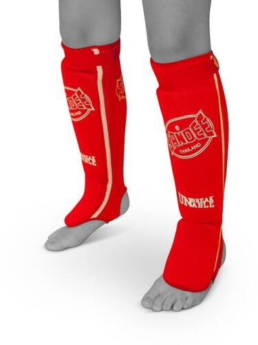 Sandee Red /& White Elasticated Cotton Competition Muay Thai Boxing Shin Guards