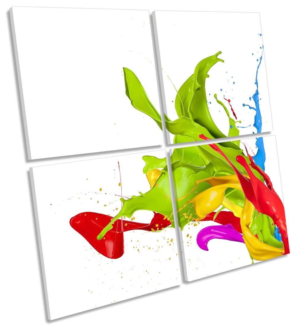 Astratto Pittura Splash incorniciato Multi stampa tela arte Square Square Square 39e515