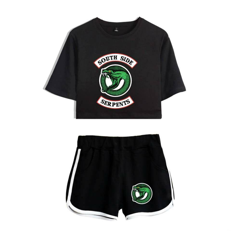 Riverdale Cool Popolare Donne Casuale Stampare Raccolto Manica Corta e Shorts 6
