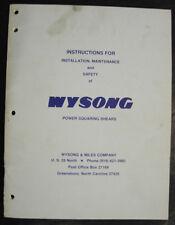 Wysong Mechanical Shear Instructions For Installmaintenance Manual