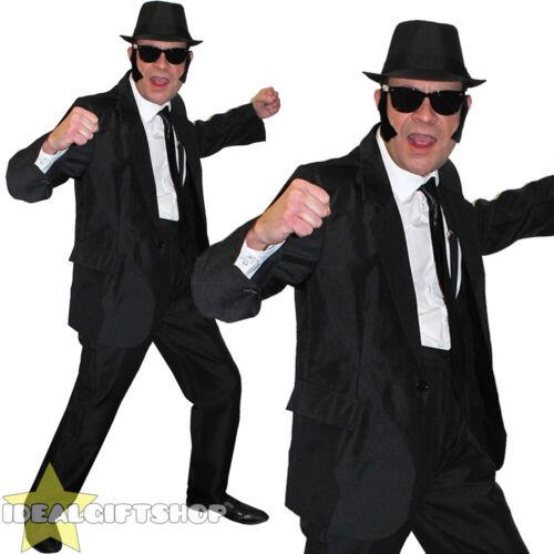 1980s Da Uomo Blu Abito Nero Costume Film Costume Cappello Occhiali Cravatta BASETTE