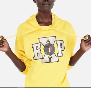Express One Eleven Yellow Glitter Graphic Hoodie Size Small