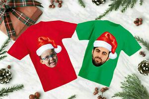 Personnalisee-Photo-Noel-Cap-T-shirt-Santa-de-Noel-Cadeau-Fete-Enfants-amp-Adultes-Top