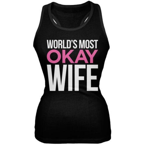 World/'s Most Okay Wife Black Soft Juniors Tank Top