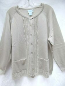 vtg-grandma-cardigan-sweater-pockets-2X-beige-lightweight-cable-open-knit-NEW