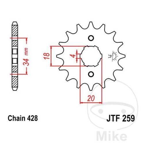 JT Front Sprocket 15T 428 Pitch Daelim VJF 125 R Fi Roadwin 2007-2008