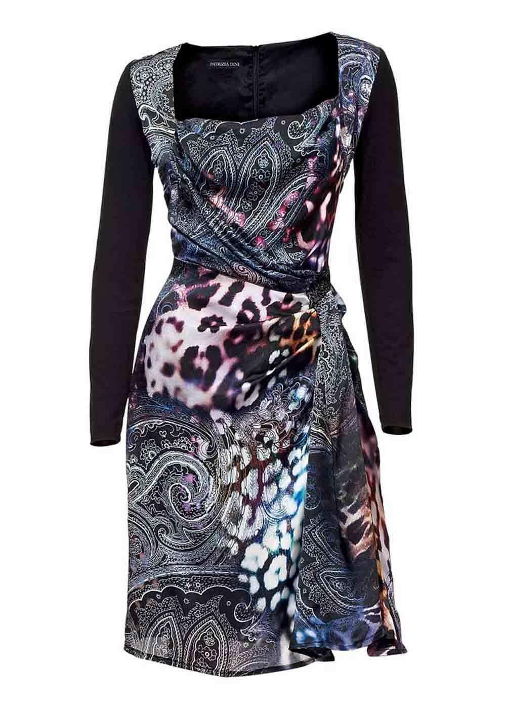 TCJ Patrizia Dini Sexy Damen Designer Kleid Sommerkleid Seidenkleid schwarz bunt