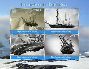 Chad 2018 MNH Shackleton Ships 4v M/S Boats Nautical Exploration Stamps