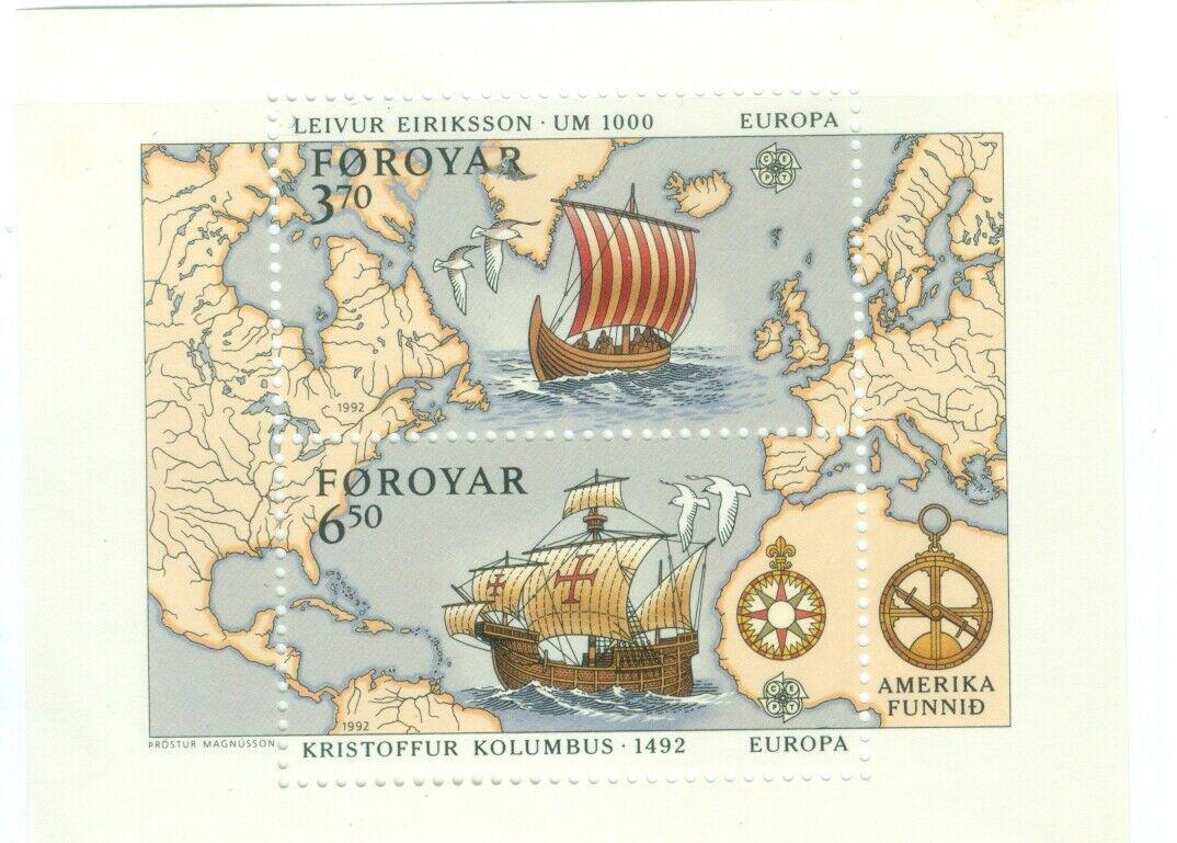 Faroe Islands #238 MNH SS(2) Columbus CV$11.00