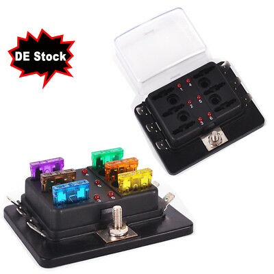 DE Beleuchtete Kfz-Klinge Sicherungshalter Box ATC 6-Circuit Sicherungsblock DHL