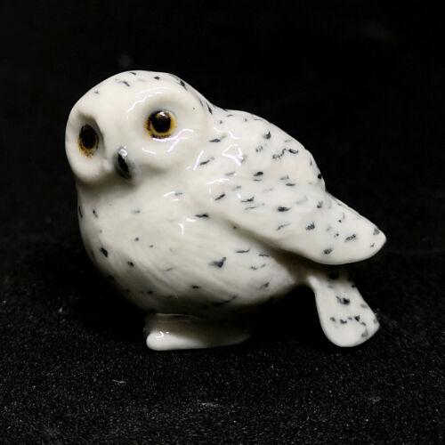 Ceramic Collectible Snowy Owl Statue Dollhouse Miniature Porcelain Bird Figurine