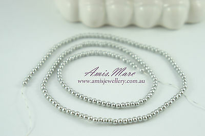 *180pcs Pearl Beads 3mm Light Grey/Silver Imitation Plastic Round Pearl Spacer*