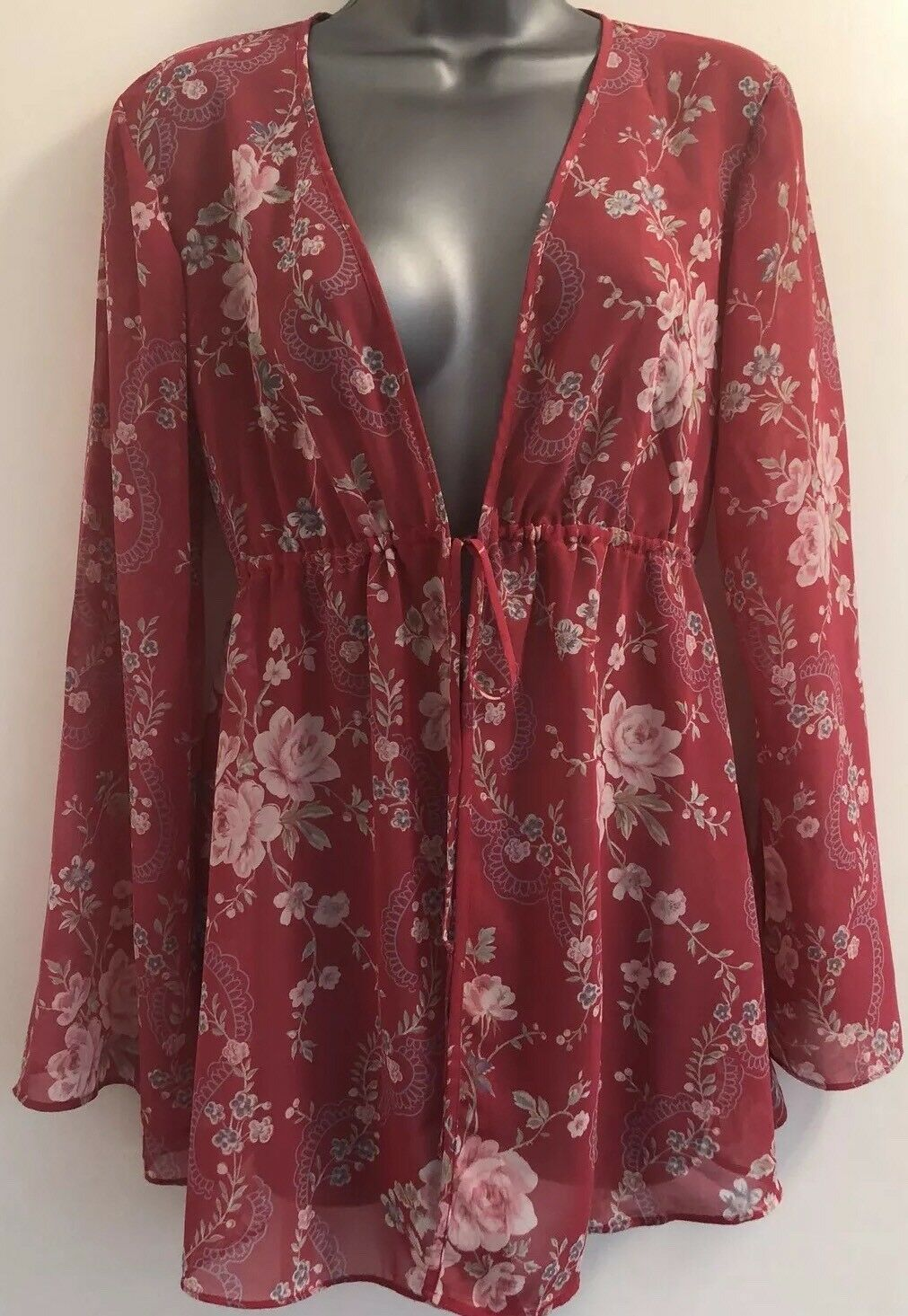 Victoria's Secret Red Floral Sheer Robe Cover-Up Top Extra-Small Small