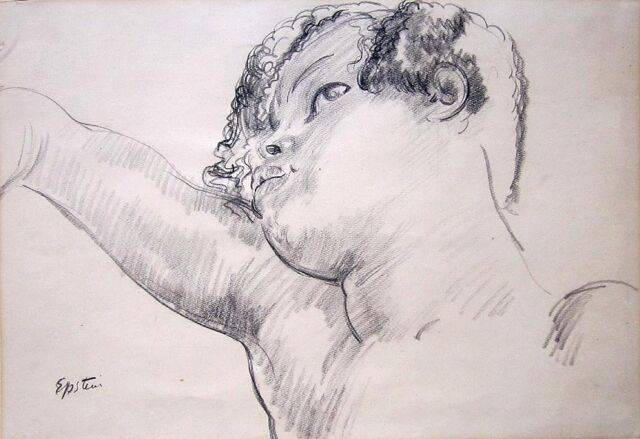 "SIR JACOB EPSTEIN Signed 1925 Original Drawing - ""Head of a Negress"""