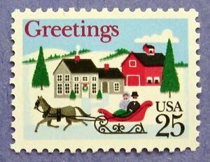 Sc 2400 25 Cent One Horse Open Sleigh Village Scene Bg9 Ebay
