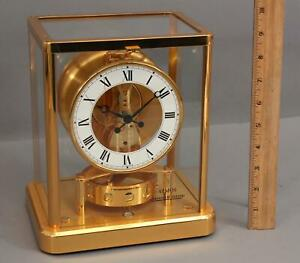 Modernist-Vintage-LECOULTURE-ATMOS-Perpetual-Gold-Gilt-Brass-Clock-13-Jewels-NR