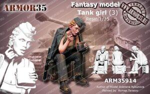 1-35-Resin-Figure-Model-Kit-Sexy-Girl-Soldier-no-TANK-Unassamble-Unpainted-515
