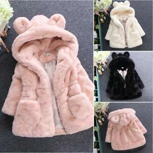 a0e6908e042d Winter Toddlers Kid Girls Warm Faux Fur Furry Hooded Jacket Coat ...