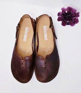 Clarks Original BEEWAX Wallabee Slip On Mary Jane Leather Shoes Women's US 7